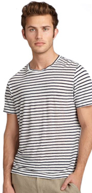 Nuco white striped linen crewneck t-shirt