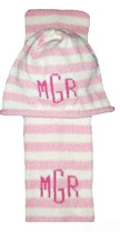 Bundle Knits Striped Monogram Hat & Scarf Set