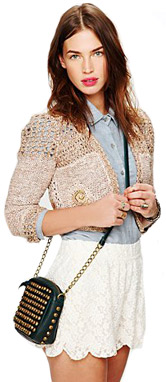 Free People Scalloped Lace Skort in Ivory